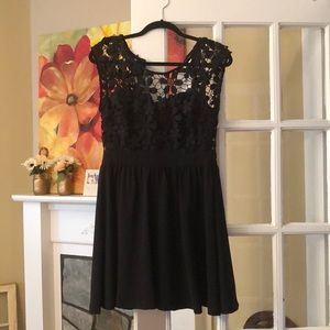 Black mini lace dress